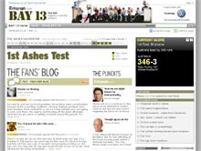 screenshot of Telegraph Bay 13 Ashes cricket site.